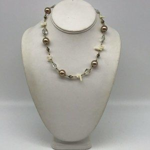 Emily Ray White & Clear Beaded Necklace